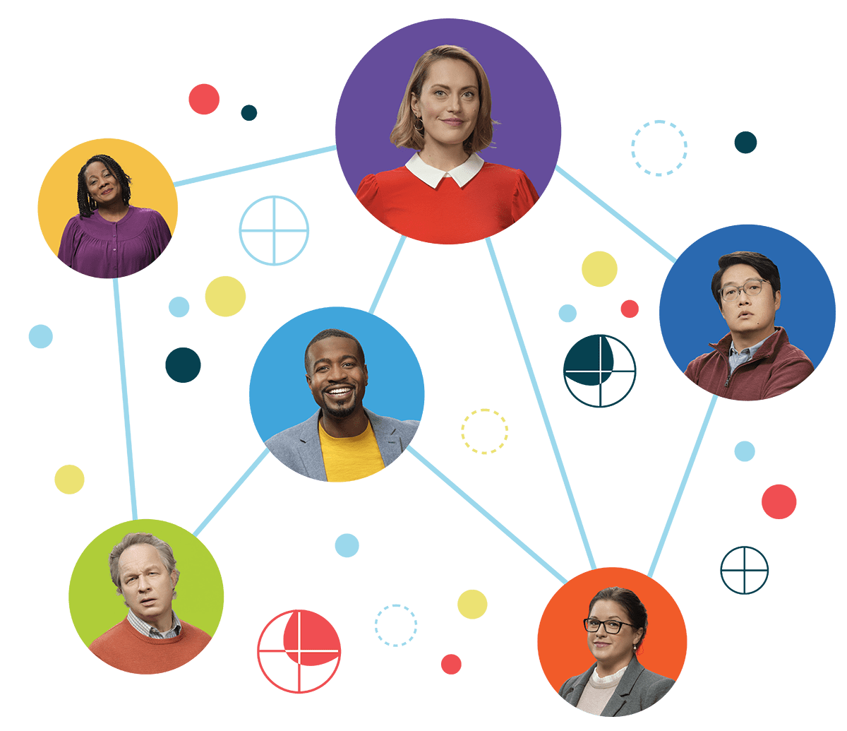 Everything disc dots with people infographic